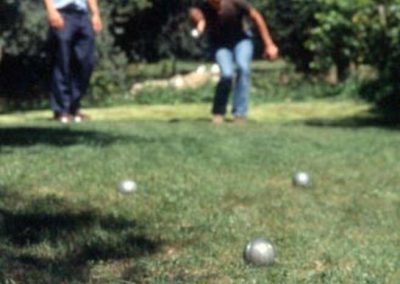 playing bocce in the garden